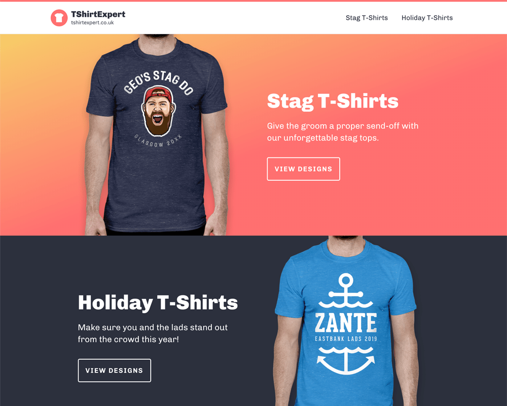 Landing page for tshirtexpert.co.uk